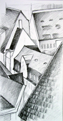 Roof study in Pencil